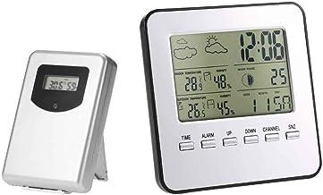 YILONG Hilos del LCD Digital termómetro higrómetro Interior Temperatura Exterior de la estación meteorológica medidor de Humedad Pronóstico del Tiempo Despertador