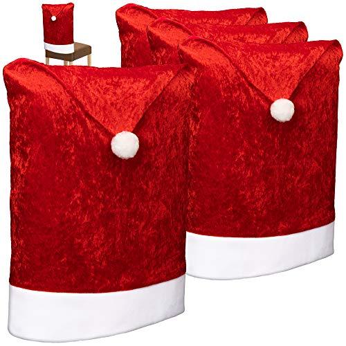 com-four® 4X Hochwertige Stuhlhussen für Weihnachten - Weihnachtsdeko für Stühle - Premium Stuhlabdeckung im weihnachtlichen Design - Stuhlbezug