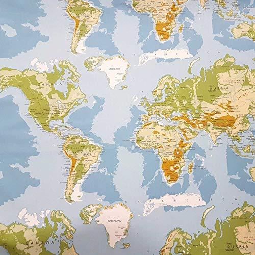 Stoff Meterware Baumwolle Weltkarte hellblau grün Erde Karte Kontinente neu Dekostoff Wandbild