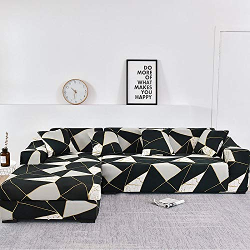 WXQY Family Sofa Cover, Can be Used for L-Shaped Corner Chaise Longue, Elastic Sofa Cover, Elastic Sofa Cover for Living Room A18 2 Seater
