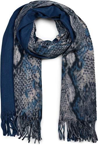 styleBREAKER Damen Schal mit Schlangen Muster und farbigem Streifen, lange Fransen, Winter, Stola 01017111, Farbe:Dunkelblau