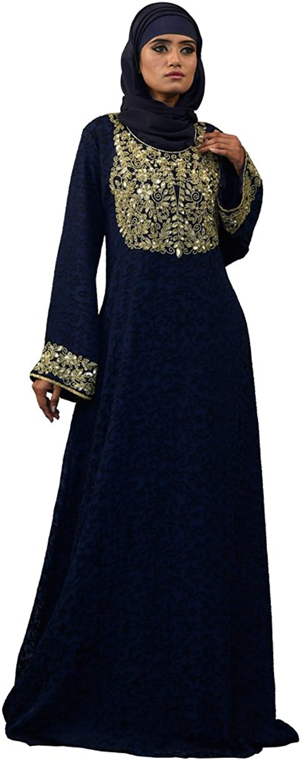 Kolkozy Fashion Women's Arabian Style Full Sleeve Kaftan bluee