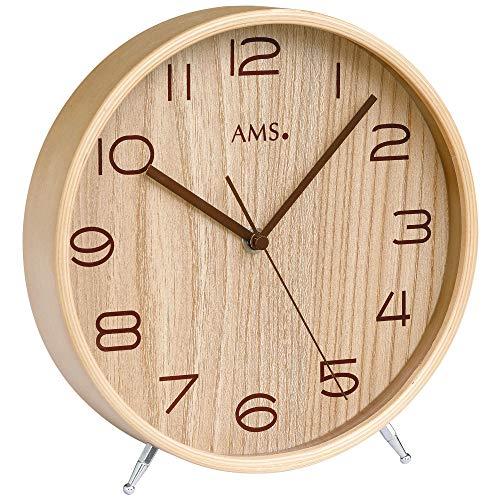 AMS - Funkuhr - Tischuhr - Holzrahmen natur - Mineralglas - Zifferblatt Holz-Optik - Sekundenzeiger