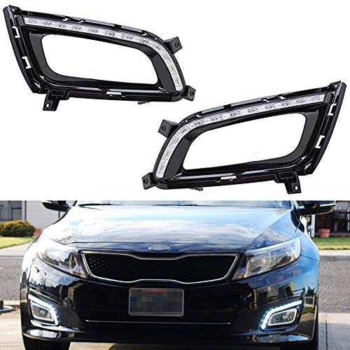 iJDMTOY Xenon White LED Daytime Running Lights Compatible With 2014-2015 Kia Optima K5, OEM Fit Kspeed Style DRL Bezels Powered by 12 Pieces High Power LED Lights