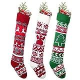 YQing 3 Piezas Calcetín de Navidad de Punto, 63.5cm Medias Navideñas de Calcetin Navidad Año Nuevo Medias Decoración para Decoración de Temporada de Vacaciones en Familia