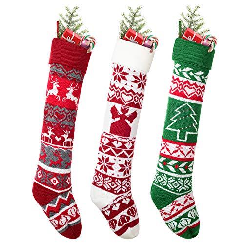 YQing 3 Pezzi Calze di Natale, 63.5CM Calze della Befana Grandi lavorate a Maglia, Calza di Natale Calze per Regali e Dolcetti, Sacchetto Porta Caramelle Natalizi Decorazioni