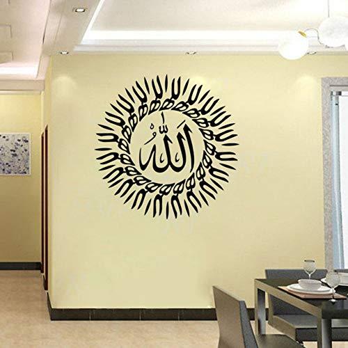 Relovsk Características Redondo Negro Islámico Musulmán Arte Caligrafía Decoración Del Hogar Etiqueta De La Pared A Prueba De Agua Sala De Estar 44Cmx44Cm