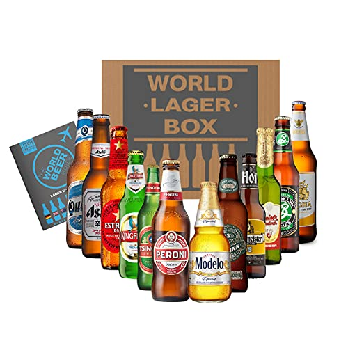 World of Lager Premium Box, 12 Bottle Mixed Case & World Beer Guide. Enjoy Lager Beers from Peroni, Budvar, Brooklyn and More. Perfect as a Beer Hamper Gift Set