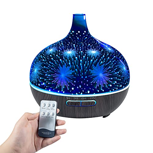 Essential Oil Diffuser for Large Rooms, 3D Glass Aromatherapy Cool Mist Humidifier with 7 Color Changing LEDs, Waterless Auto-Off, Timer Setting and Remote Control, A Wonderful Gifts for Home Use