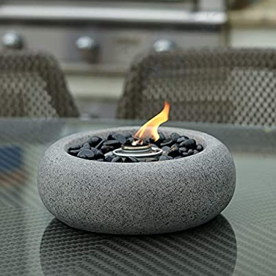 Grey Table Top Fire Bowl, Ventless Outdoor Cement Portable Bio Ethanol Fire Pit, Modern Round Table Fireplace (Curved Bowl)