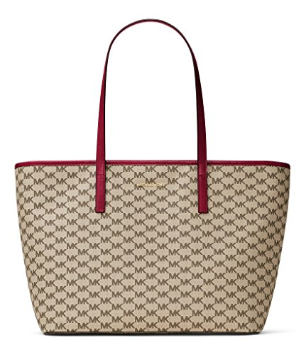 """MK Heritage Signature pattern approx. 20 x 11 x 7""""; 9.5"""" handle drop coated canvas brushed hardware top zip closure polyester lining key clip, zip pocket and 3 slip pockets inside double top handles"""