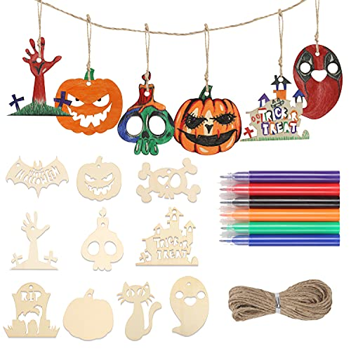 DERAYEE 20PCS Halloween Wooden Ornaments, Unfinished Wood Cutouts Kit Wooden Slices Hanging Crafts for Kids Halloween Decoration DIY Supplies