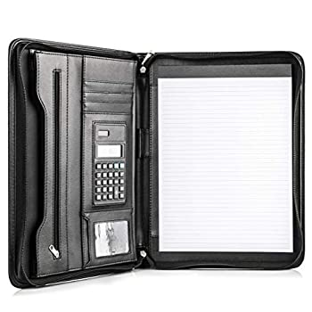 COSSINI Black Superior Vegan Leather Business Portfolio with Zipper – Padfolio All-in-One - Smartest Protective 10.1 Inch Tablet Sleeve Presentation Slot Solar Calculator Card Storage Writing Pad