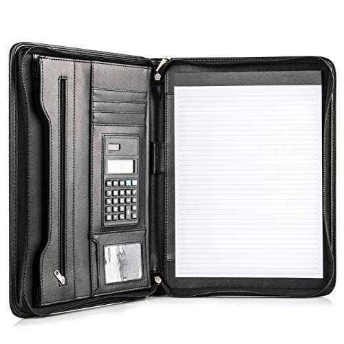 COSSINI Black Superior Vegan Leather Business Portfolio with Zipper – Padfolio All-in-One - Smartest Protective 10.1 Inch Tablet Sleeve,...