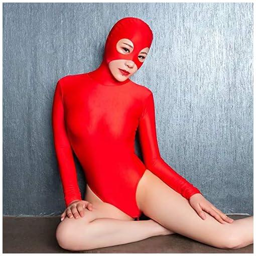 Women's Sexy Zentai Bodysuit Mask 2 Way Zipper Hood Catsuit Party Cosplay Costume Unitard