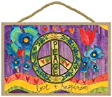 SJT ENTERPRISES, INC. Peace Love & Happiness 7' x 10.5' Wood Plaque Featuring The Artwork of Painted Peace - Stephanie Burgess (SJT55934)