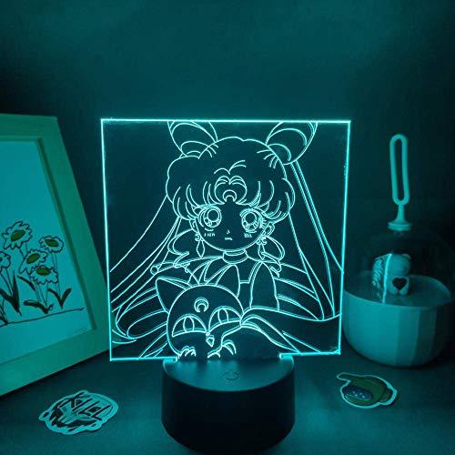 Lámpara de lava 3D Anime Figura Sailor Moon LED RGB Luces de noche Regalo colorido para amigo dormitorio mesita de noche manga mesa decoración de escritorio