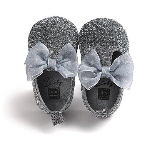 Chaussures à chaussures confortables pour bébés tout-petits Chaussures douces et antidérapantes pour le glitter avec Bowknot pour 0-18 mois Filles Printemps été Automne Wearing (argent, M)