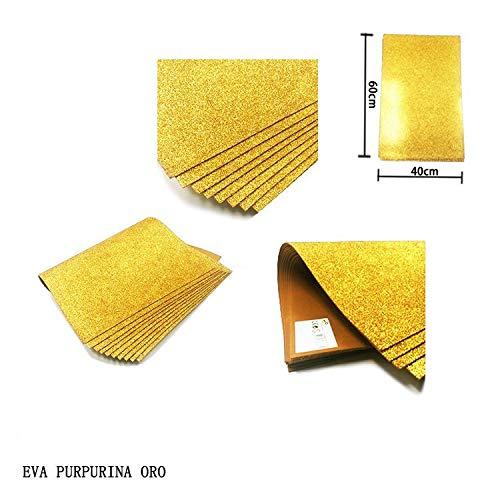NOBRAND Goma Eva con Purpurina 40x60 Grosor 2MM, 10 Láminas Color Dorado.
