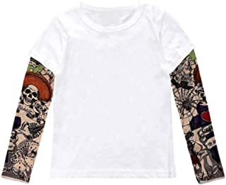 stylesilove Unisex Baby Kids Boys Cotton T-Shirt with Mesh Tattoo Sleeve