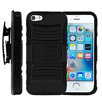 TurtleArmor   Compatible with Apple iPhone SE Case   iPhone 5/5s Case [Hyper Shock] Hybrid Dual Layer Armor Holster Belt Clip Case Kickstand - Black