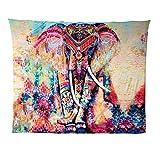 JELINDA Boho Indio Elefante Tapiz de Color Impreso Decorativo Mandala Tapestry, Rojo Rosado 203cmx153cm