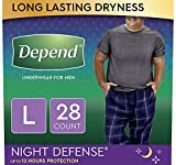 Depend Night Defense Incontinence Underwear for Men, Overnight, Disposable Size L, 28 Count (2 Packs of 14) (Packaging May Vary)