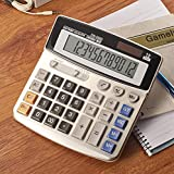 Upgrade Desktop Basic Solar Caculator, 12-Digit Battery Dual Powered Handheld Electronic Business Office Calculator, Desk Calculators with Large LCD Display