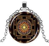 Collar con colgante con símbolo de Sri Yantra Budista, Chakra, Mandala, cadena de 54 cm y colgante de 2,8 cm de diámetro.