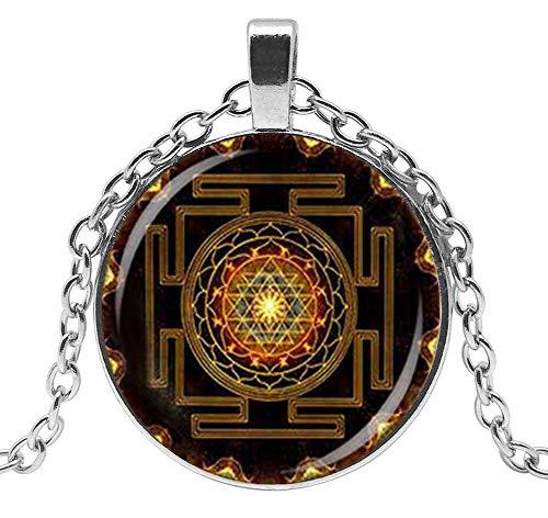 Générique Collar con Colgante con símbolo de Sri Yantra Budista, Chakra, meditación Yoga. C1.