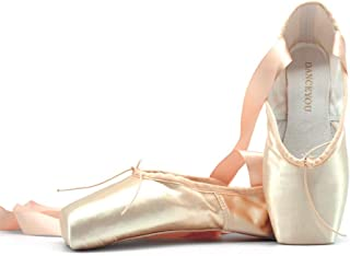 DANCEYOU Chaussures de Ballet de Pointe pour Danse Classique en Rose avec Rubans de Satin pour Débutants et Professionnels