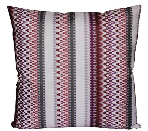 Jolies rayures d'impression aztèque 16 X 16 coussin housse de coussin pour canapé-lit (Violet et crème)