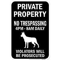 PRIVATE PROPERTY ブラックマグネットサイン:ベルジアンマリノア シルエット 英語 私有地 無断立入禁止