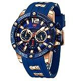 Men's Sports Watch (Multifunction,Waterproof,Luminous,Calendar) Silicon Strap Wrist Watch Fashion for Men(Blue)