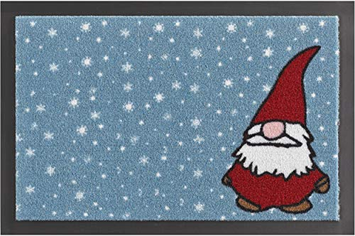 Bavaria Home Collection Fußmatte Weihnachten Weihnachtswichtel, rechteckig, Größe 40 x 60 cm, blau rot weiß Schmutzfangmatte