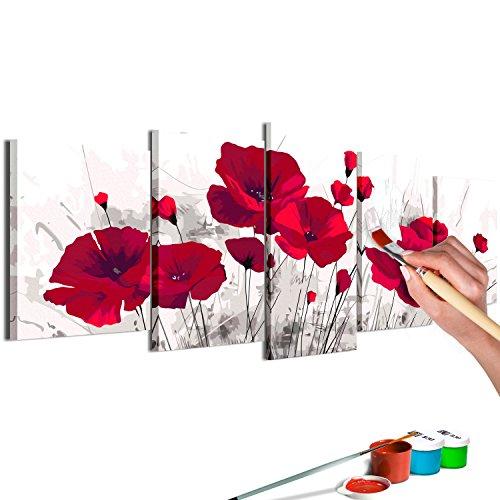 murando - Malen nach Zahlen Blumen Mohn 150x60 cm 5 TLG Malset mit Holzrahmen auf Leinwand für Erwachsene Kinder Gemälde Handgemalt Kit DIY Geschenk Dekoration n-A-0622-d-m