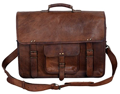 KPL 18 Inch Vintage Men's Brown Handmade Leather Briefcase Best Laptop Messenger Bag Satchel for Men Gifts for him (18 inch)