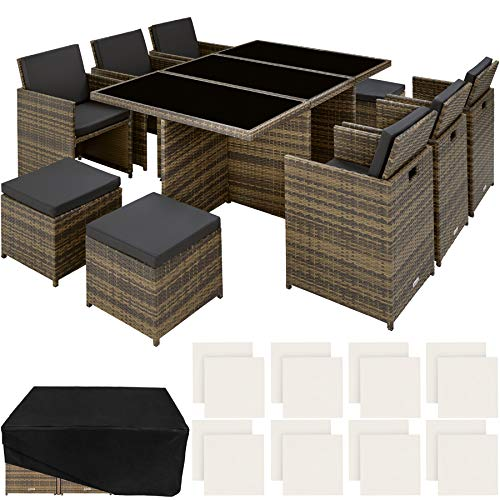 TecTake 800855 Rattan Aluminium Garden Furniture Set Outdoor Wicker Black 6+4 Seats + 1 Table (Natural)
