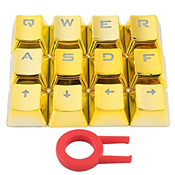 12 Keys PBT Keycaps Backlit Metallic Electroplated Set for Cherry MX Axis Mechanical Keyboard TLT Retail FPS and MOBA Gaming Switch QWER/ASDF/WASD/Direction with Key Puller Gold
