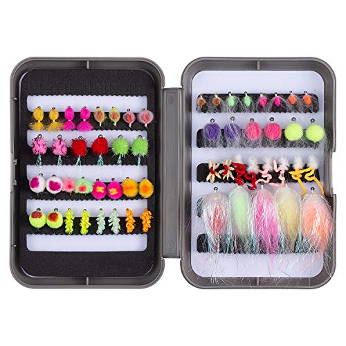 Bassdash Trout Fishing Flies Assortment 58pcs Include Dry Wet Flies...