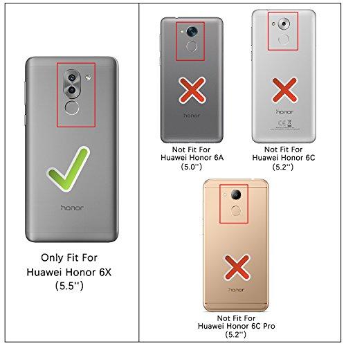 HOOMIL Handyhülle für Huawei Honor 6X Hülle, Premium Leder Flip Schutzhülle für Huawei Honor 6X Tasche, Schwarz - 3
