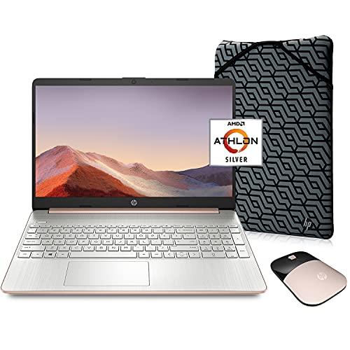 HP Pavilion Laptop (2021 Latest Model), AMD Athlon 3050U Processor, 16GB RAM, 256GB SSD, Long Battery Life, Webcam, HDMI, Bluetooth, WiFi, Rose Gold, Win 10 + Oydisen Cloth