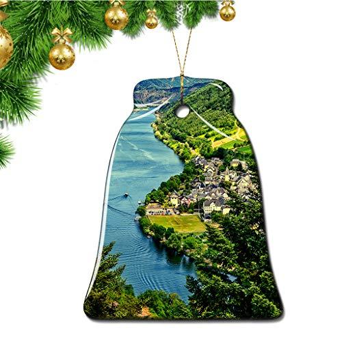 Hqiyaols Ornament Deutschland Mosel Weihnachten Ornamente Bell Form Keramik Souvenir Stadt Reise Geschenk Baum Tür Fenster Decke Zierschmuck Deko