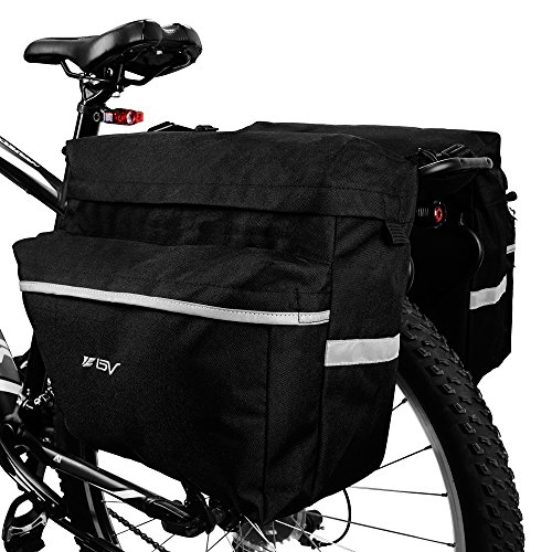BV Bike Bag Bicycle Panniers with Adjustable Hooks, Carrying Handle, 3M Reflective Trim and Large Pockets