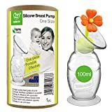 Haakaa Manual Breast Pump Silicone Breast Pump Milk Saver Milk Pump with Suction Base and Flower Stopper Food Grade Silicone BPA Free (4oz/100ml) (Orange)