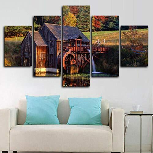 lcyab Leinwanddrucke Gerahmte Wassermühle Vermont Forest Cabin Poster 5 Stück Leinwanddruck Wandkunst Dekor