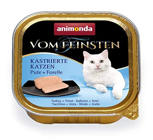 animonda Vom Feinsten Adult Katzenfutter, Nassfutter für ausgewachsene Katzen, kastrierte Katzen Pute + Forelle, 32 x 100 g