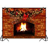 COMOPHOTO Christmas Fireplace Backdrop for Photography 7x5ft Red Brick Fireplace Decorations for Xmas Party Photo Background Pictures Studio Props