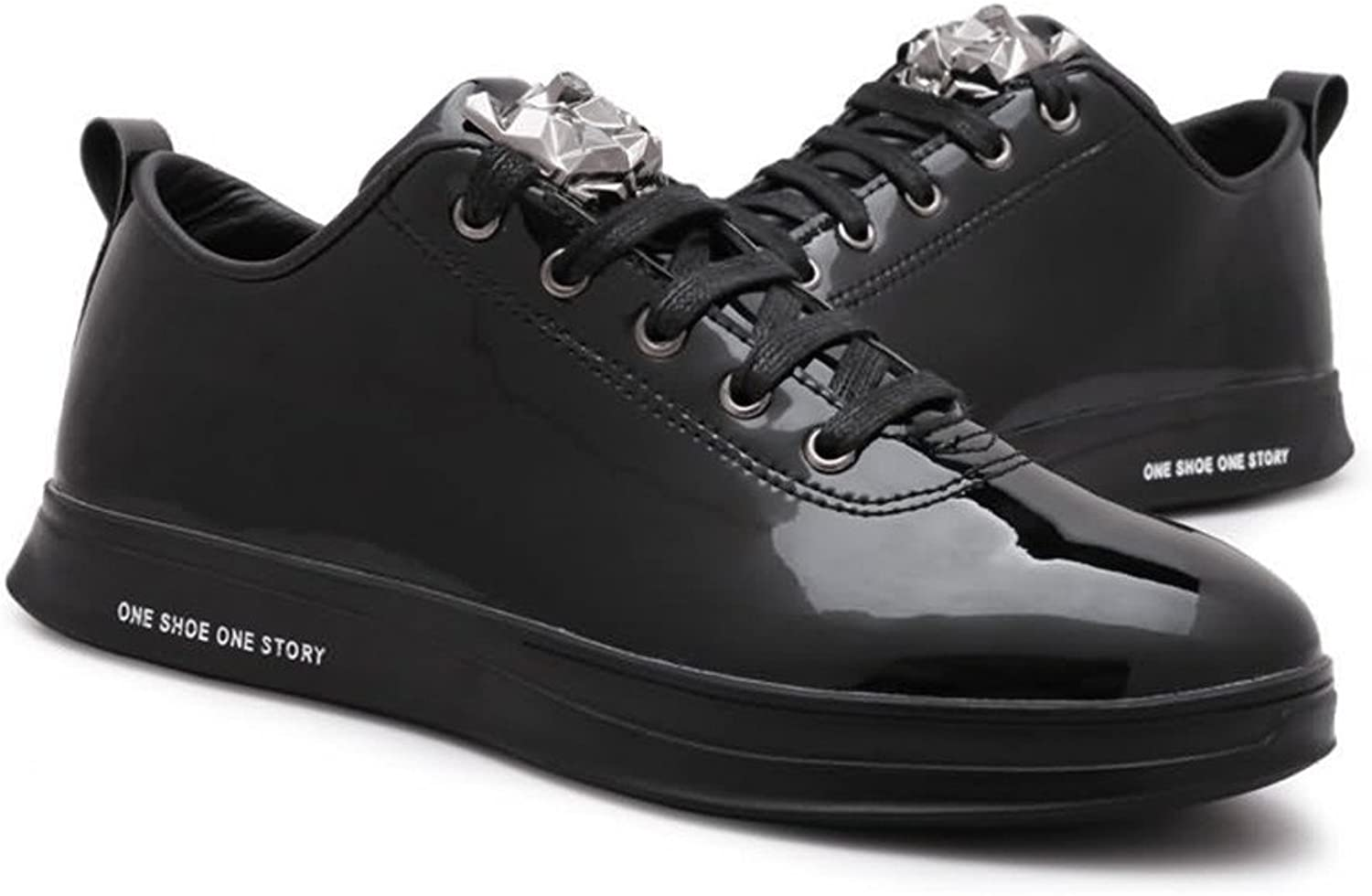 Dig dog bone Men's Fashion Sneaker Flat Heel Lace Up Patent Leather Casual shoes