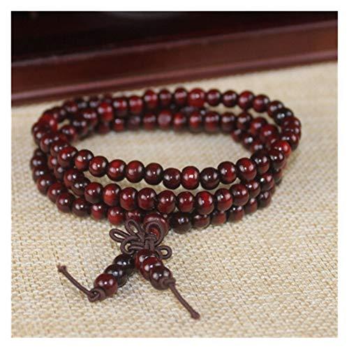 ZNYD La oración Mala de los Granos 108 meditación Budista Tibetano Collar del Encanto de la Yoga Suerte sándalo Pulsera de Madera for Las Mujeres de los Hombres (Color : Rojo)